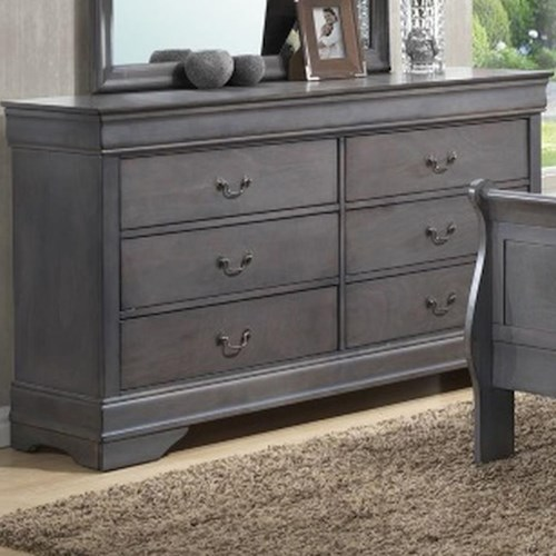 Lifestyle 4934A 6 Drawer Dresser with Decorative Pulls