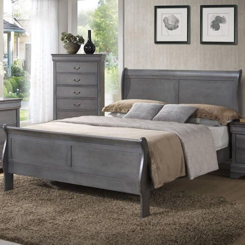 Lifestyle 4934A Full Sleigh Panel Bed