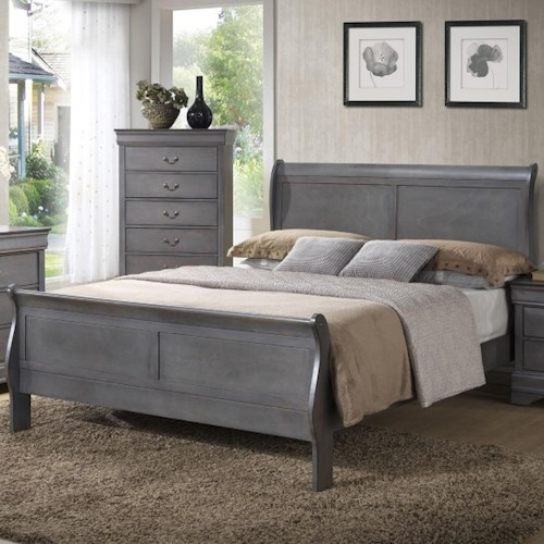 Lifestyle 4934A Queen Sleigh Panel Bed