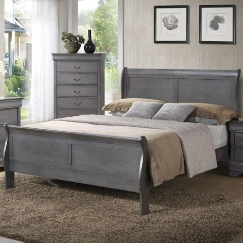 Lifestyle 4934A Twin Sleigh Panel Bed