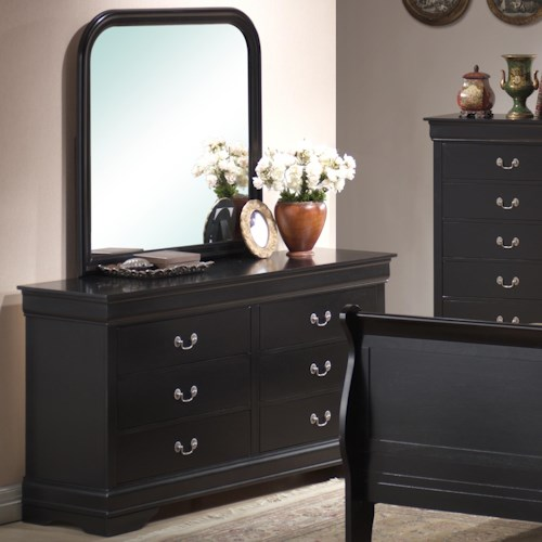 Lifestyle Louis Phillipe 6 Drawer Dresser & Rounded Square Mirror Combo