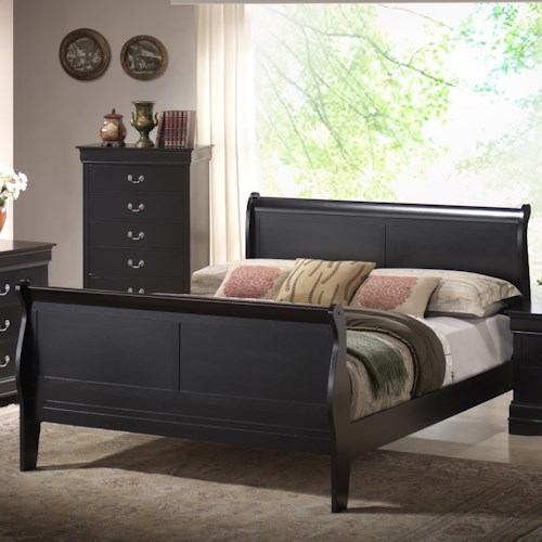 Lifestyle Louis Phillipe Queen Sleigh Panel Bed