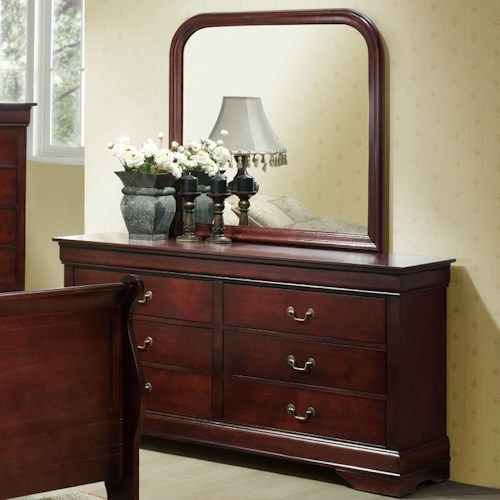 Lifestyle Louis Phillipe Drawer Dresser w/ Landscape Mirror