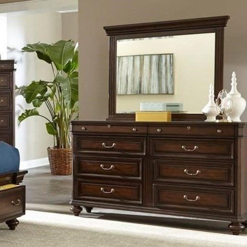 Lifestyle Harrison 8 Drawer Dresser and Mirror with Wood Frame