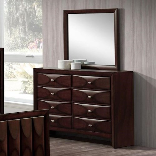 Lifestyle 6181B 8 Drawer Dresser and Mirror with Wood Frame