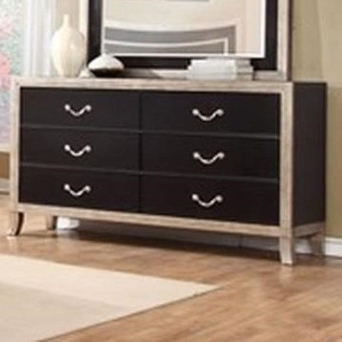 Lifestyle 6199A 6 Drawer Dresser with Full Extension Glides