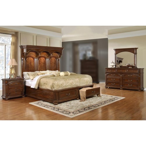 Lifestyle Empire 4PC King Storage Bedroom Set