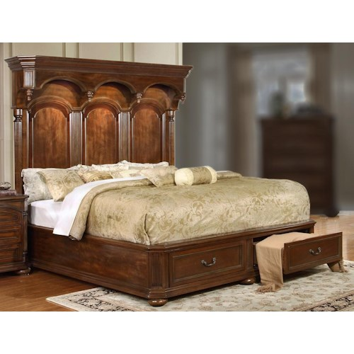 Lifestyle Empire King Storage Bed with Headboard Lighting