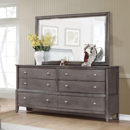 Lifestyle 7185 6 Drawer Dresser and Beveled Mirror Set