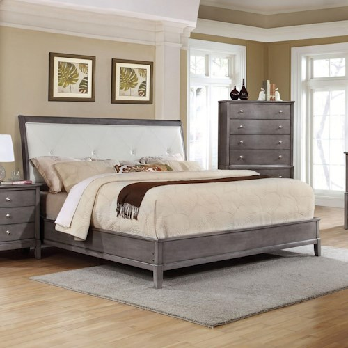 Lifestyle 7185 California King Bed with Upholstered Tufted Headboard