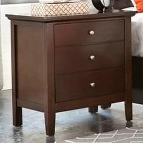 Lifestyle Bryce 3 Drawer Nightstand in Whiskey Finish