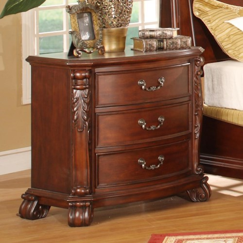 Lifestyle 9642 Traditional 3 Drawer Nightstand with Acanthus Leaf Details