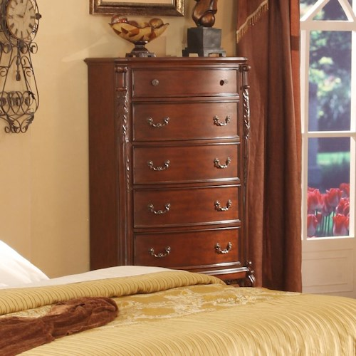 Lifestyle 9642 Traditional 5 Drawer Chest with Acanthus Leaf Detailing