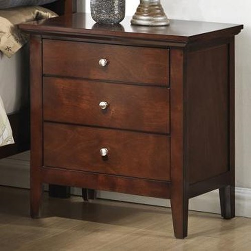 Lifestyle C3136A Bedroom Transitional Three Drawer Nightstand with Tall Block Legs