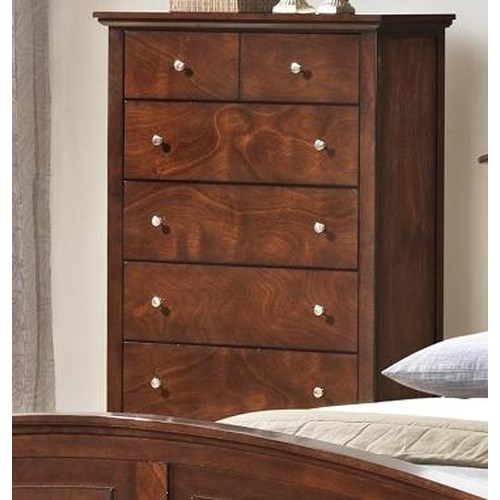 Lifestyle C3136A Bedroom Transitional Five Drawer Chest with Tall Block Legs