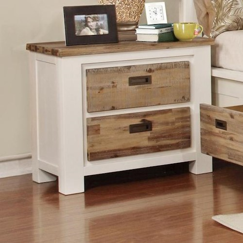 Lifestyle Tommy Nightstand with 2 Full Extension Drawers and Two Tone Wood Finish