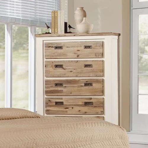 Lifestyle Tommy Chest with 5 Drawers and Two Tone Wood Finish