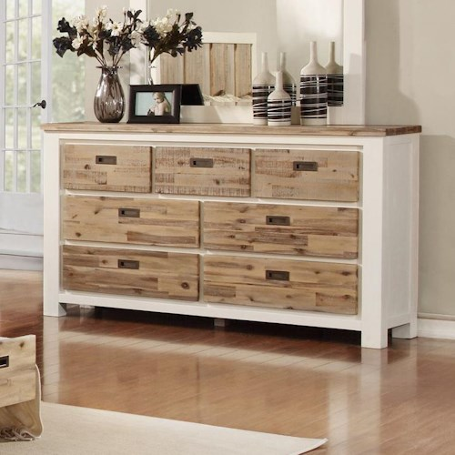 Lifestyle Tommy Dresser with 7 Drawers and Two Tone Wood Finish