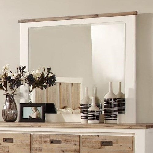 Lifestyle Tommy Dresser Mirror with Two Tone Wood Finish Frame