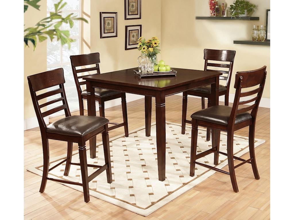 5 Piece Bar Table Set Lifestyle Dc192 5 Piece Pub Table Set With Ladder Back Pub Chairs