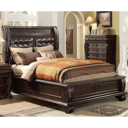 Home Insights Hillsboro King Panel Bed w/ Upholstered Headboard