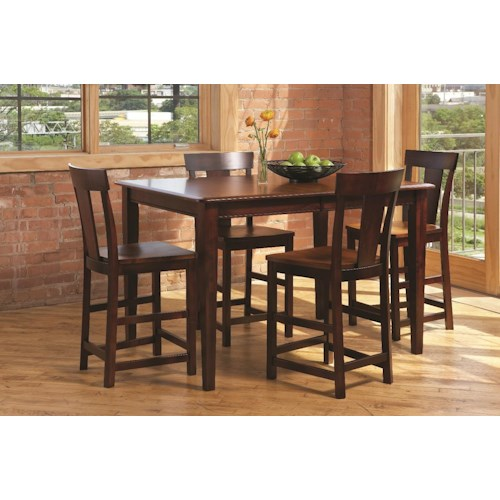 L.J. Gascho Furniture Anniversary II 5-Piece Solid Wood Dining Set includes Counter Height Table and 4 Barstools