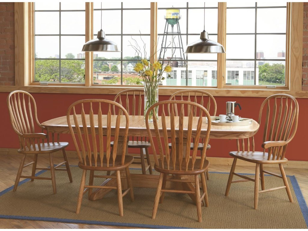 Shown in Room Setting with Bent Paddle Arm Chairs and Heritage Table