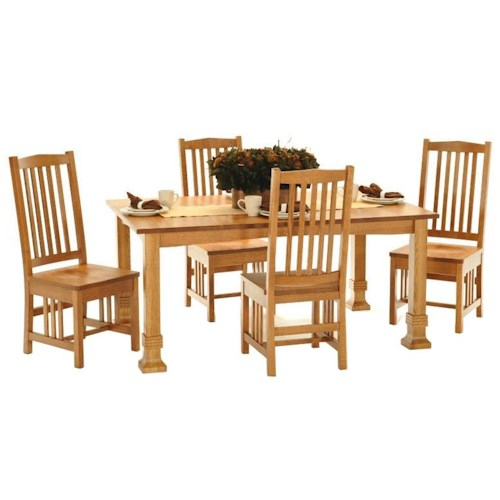 American Amish Grand Mission Dining Leg Table With Four Mission Style Side Chairs