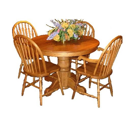LJ Gascho Furniture Oak Ridge 42 Inch Round Solid Pedestal Table amp Chair Set John V