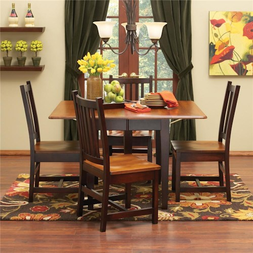 L.J. Gascho Furniture Saber Solid Maple Drop Leaf Table & Chair Set