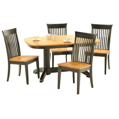 American Amish Split Rock Five Piece Dining Set With Double Pedestal Table and Slated Chairs