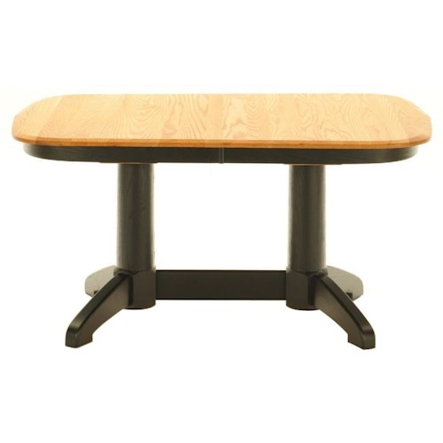 American Amish Split Rock Casual Kitchen Table With Light Wheat Top and Midnight Black Base