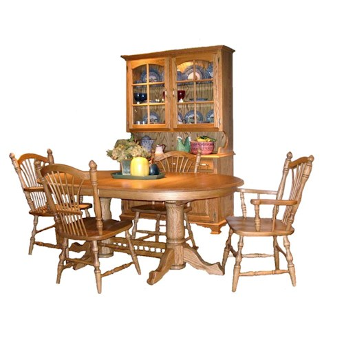 American Amish Wheatland Solid Oak Pedestal Dining Table & Chair Set