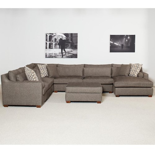 Lloyd's of Chatham 598 Sectional Sofa with Chaise and Track Arms