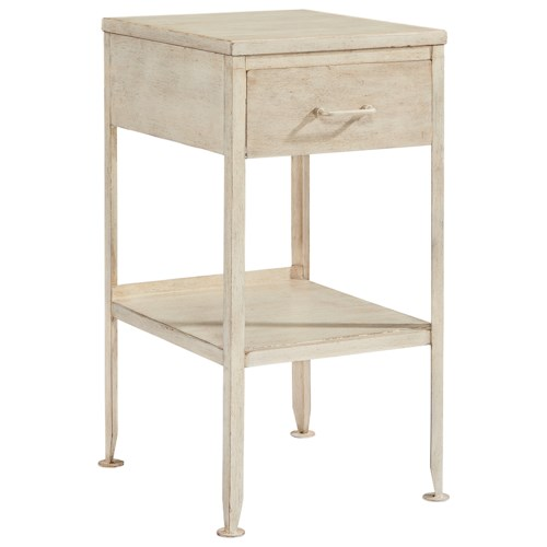 Magnolia Home by Joanna Gaines Accent Elements Small Metal End Table with Drawer and Storage Shelf