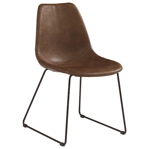 Magnolia Home by Joanna Gaines Boho Molded Shell Side Chair with Brown PU Leather-Like Fabric