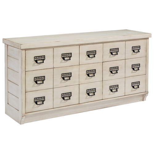 Magnolia Home by Joanna Gaines Farmhouse 9 Drawer Buffet Dresser with Custom Designed Drawer Pulls