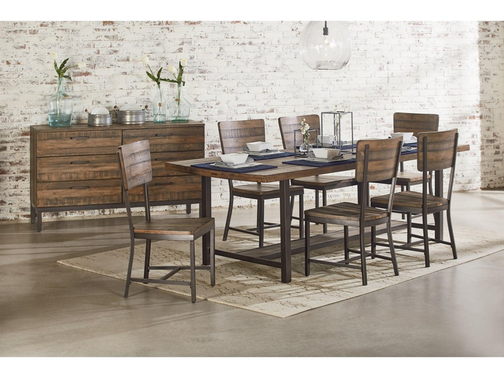 industrial kitchen table Magnolia Home by Joanna Gaines Industrial 84 Dining Table with Shop Floor Finish Becker Furniture World Dining Tables