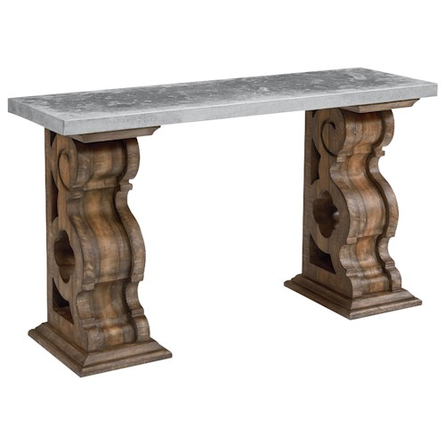 Magnolia Home by Joanna Gaines Traditional Hall Table with Zinc Top and Corbel Bracket Base