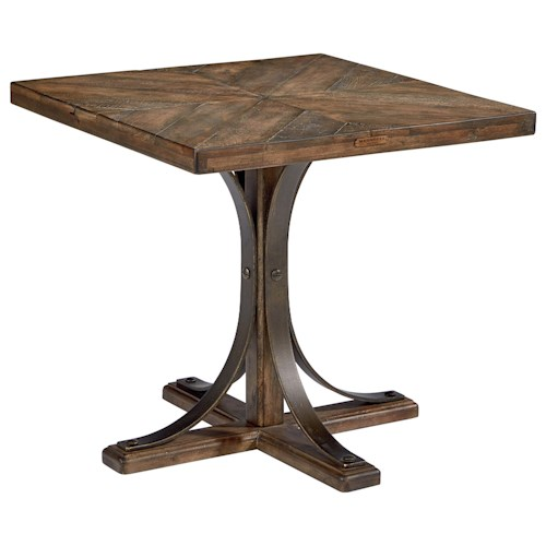 Magnolia Home by Joanna Gaines Traditional Wood Top End Table with Metal Pedestal Base