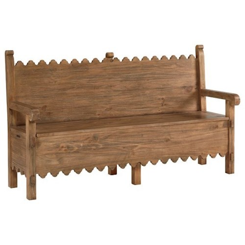 Magnolia Home by Joanna Gaines Accent Elements Storage Bench with Scalloped Design
