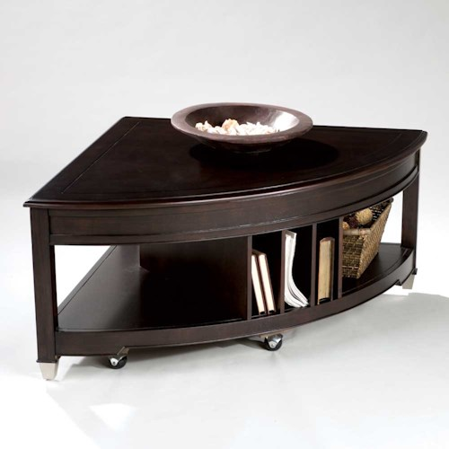 Magnussen Home Darien Pie Shaped Cocktail Table with Lifting Top, Casters, and Magazine Storage