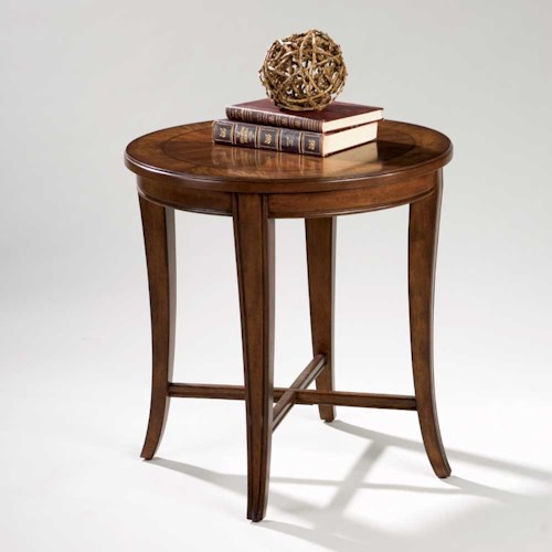 Magnussen Home Kingston Round End Table with Shaped Legs and X Stretchers