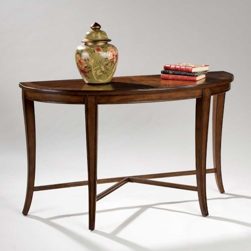 Magnussen Home Kingston Demilune Sofa Table with Shaped Legs and Stretchers