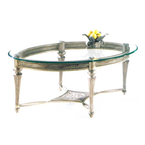 Magnussen Home Galloway Traditionally Styled Oval Cocktail Table with Beveled Glass Top