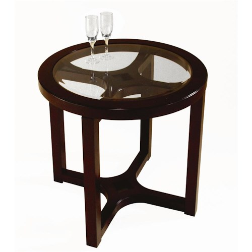 Magnussen Home Juniper Round Glass Top End Table