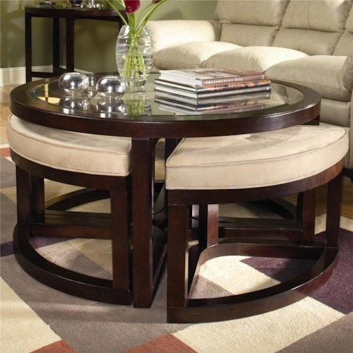 Magnussen Home Juniper Cocktail Table with Four Ottomans
