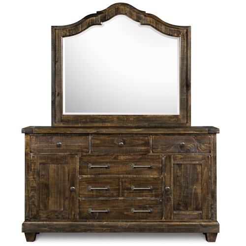 Magnussen Home  Brenley Solid Pine 6-Drawer Dresser & Mirror Set