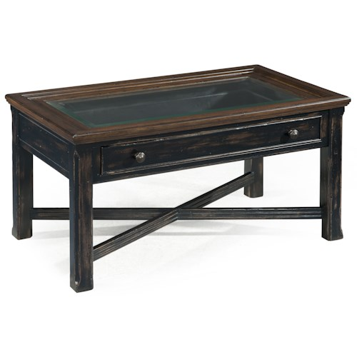 Magnussen Home  Clanton Small Glass Top Rectangular Cocktail Table w/ Drawer