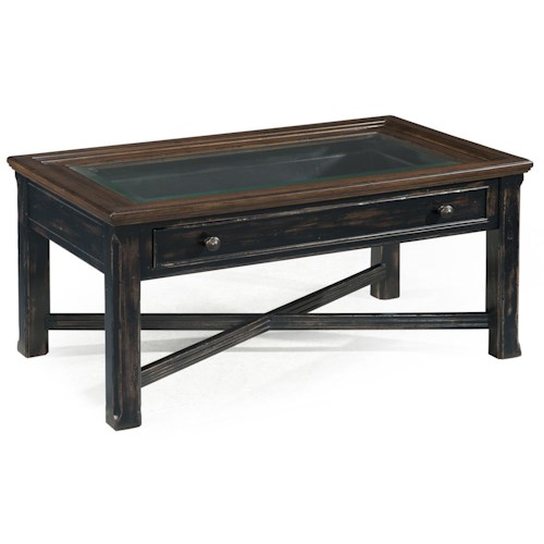Magnussen Home  Clanton Large Glass Top Rectangular Cocktail Table w/ Drawer